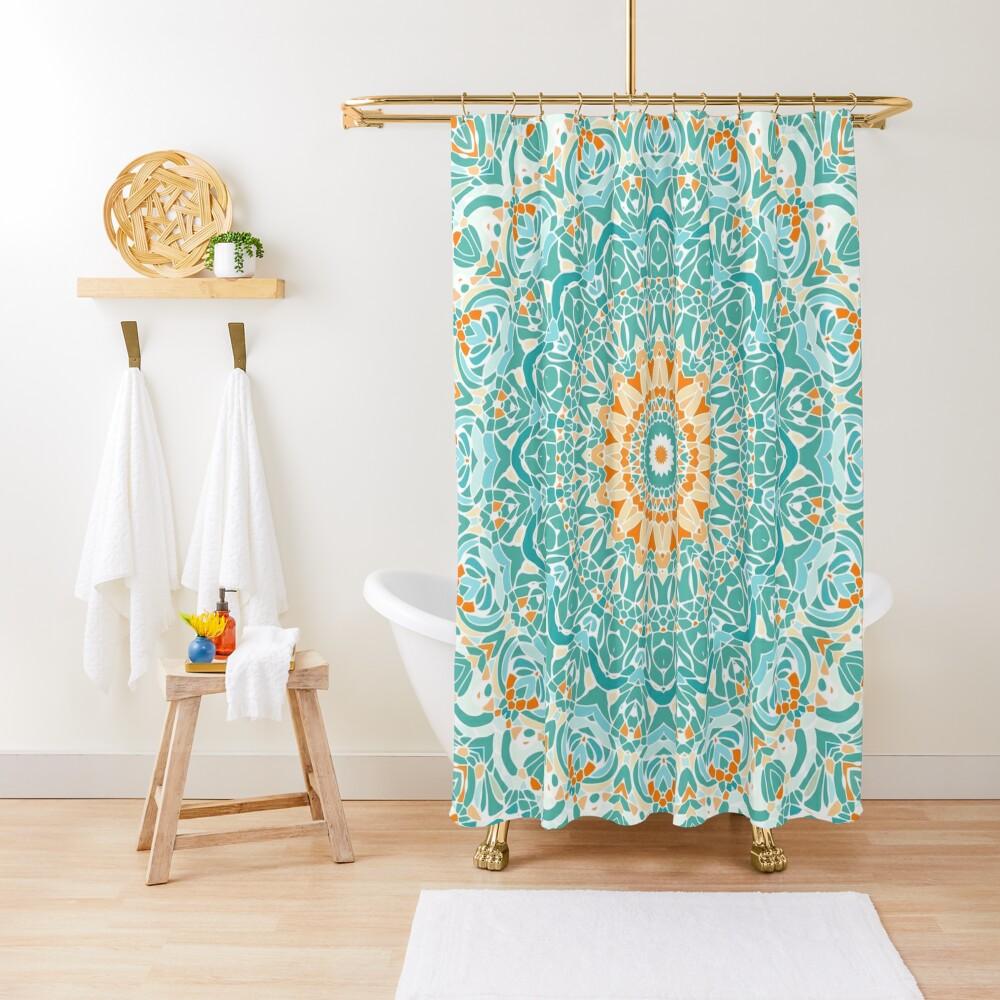 Orange and Turquoise Clarity Mandala Shower Curtain