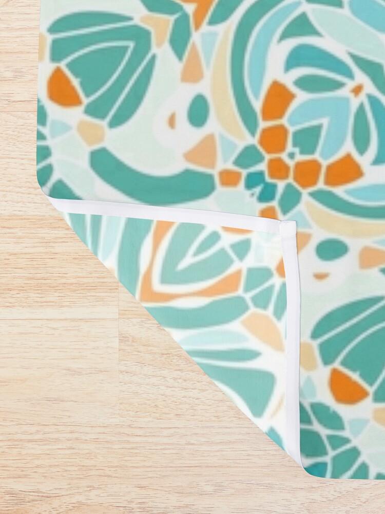 Alternate view of Orange and Turquoise Clarity Mandala Shower Curtain