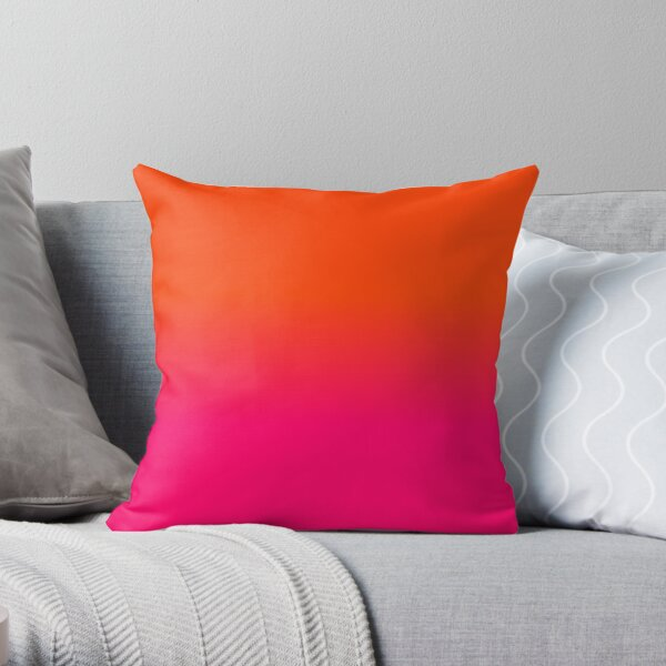 Neon Orange and Neon Pink Ombre Shade Color Fade Throw Pillow