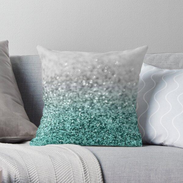 Silver Teal Ocean Glitter Glam # 1 #shiny #decor #art Cojín