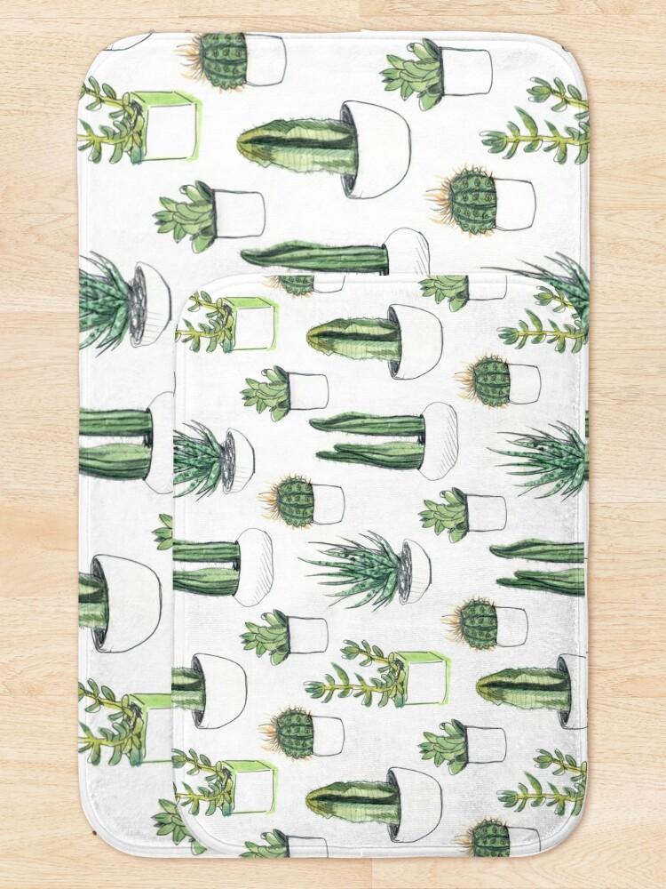 Alternate view of Watercolour cacti & succulents Bath Mat