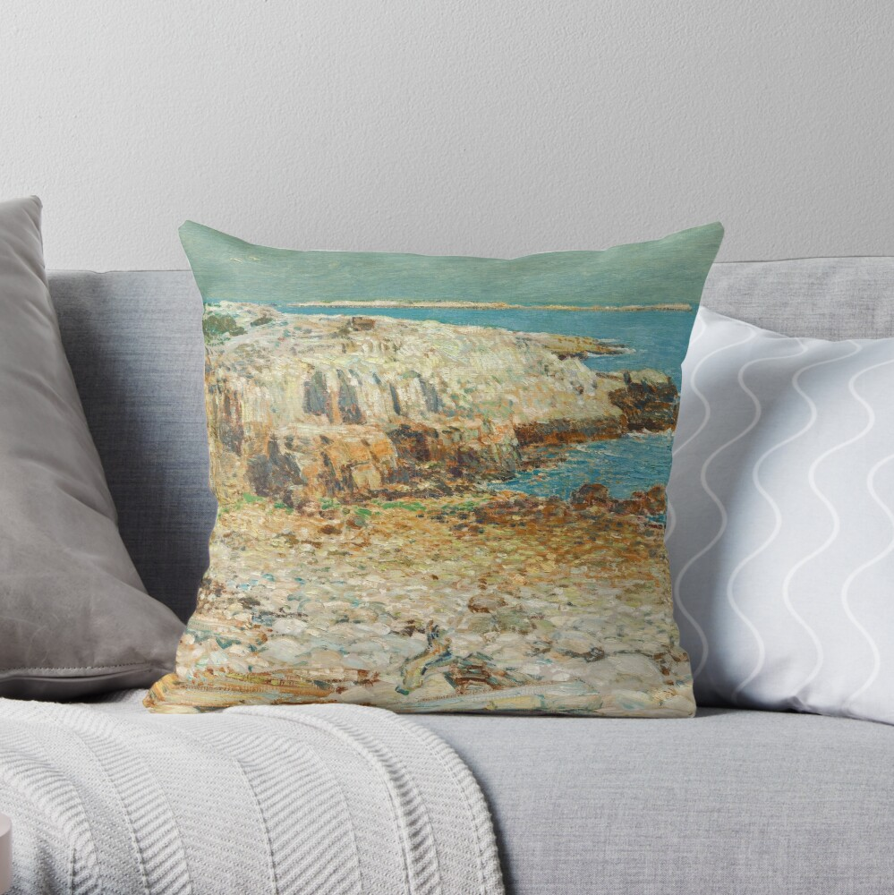 A North East Headland Oil Painting by Childe Hassam Throw Pillow