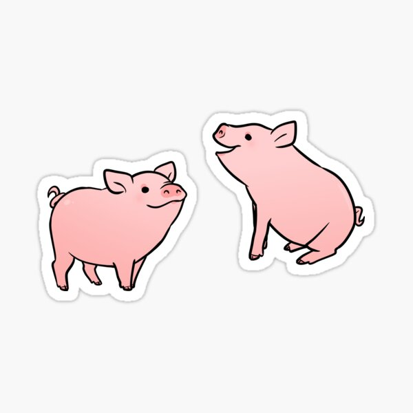 Two Pink Pig Stickers Sticker