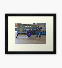 The citizens decided to put up a statue in their desert town, but became concerned when the erection lasted longer than four hours. Framed Print