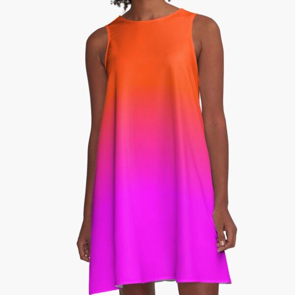 Neonorange und Pink Ombre Shade Color Fade A-Linien Kleid