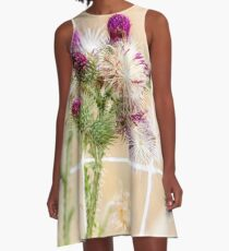 Colourful Thistle Mosaic  A-Line Dress