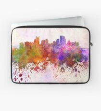 Pittsburgh skyline in watercolor background Laptop Sleeve