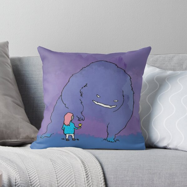 Apple Monster with Girl Throw Pillow