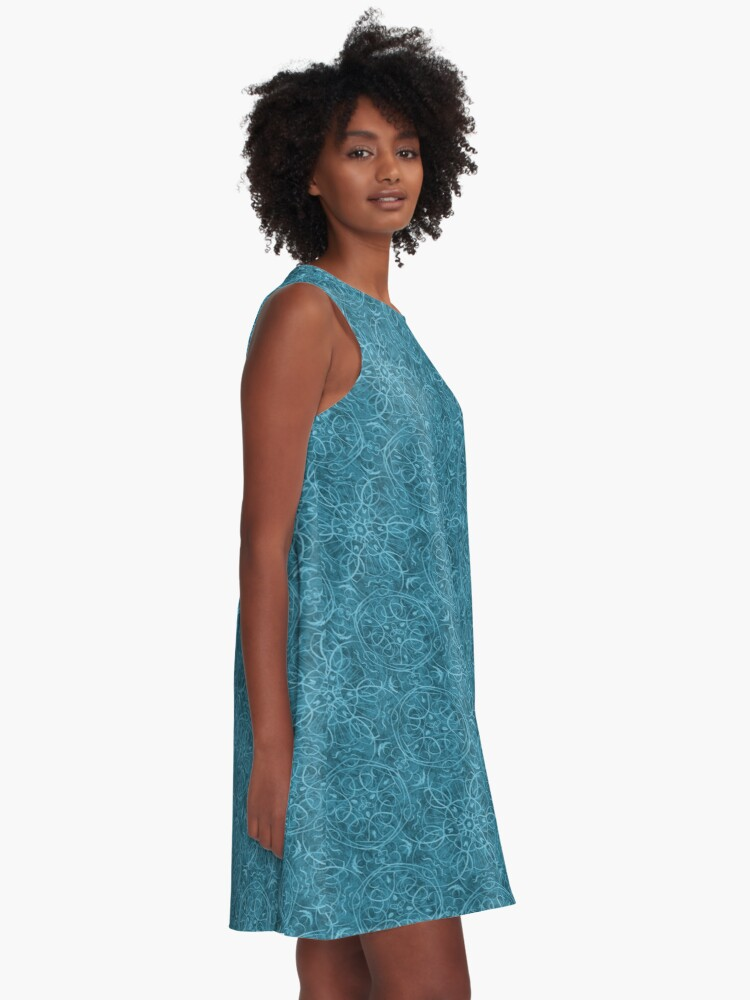 Alternate view of Moroccan Teal Green Textured Pattern A-Line Dress