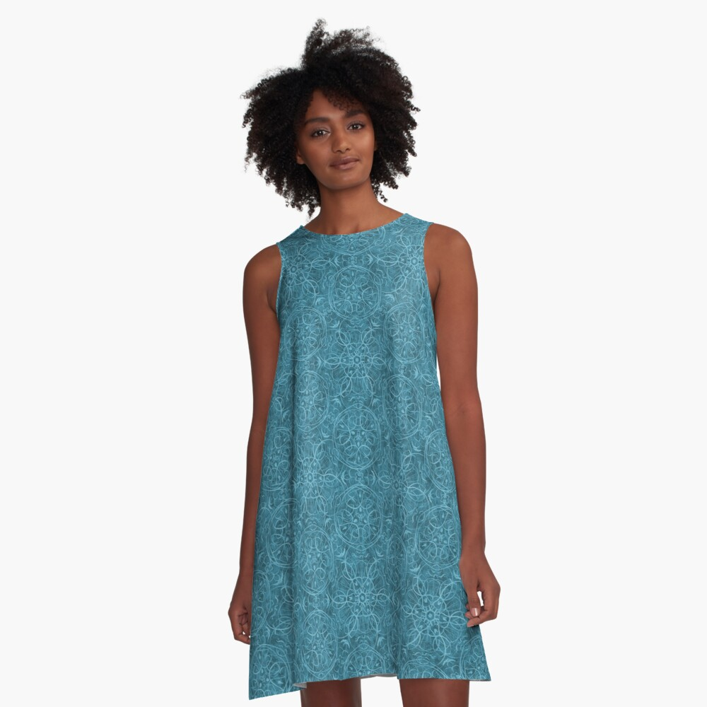 Moroccan Teal Green Textured Pattern A-Line Dress