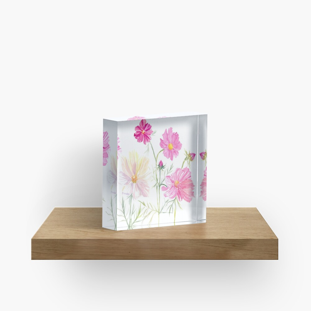 Bloc acrylique «Fleurs de Cosmos à l'aquarelle»