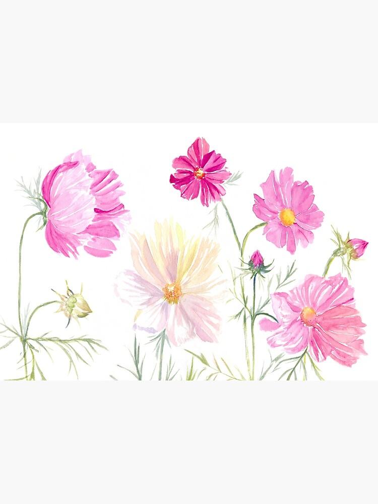 «Fleurs de Cosmos à l'aquarelle» par cindybarillet
