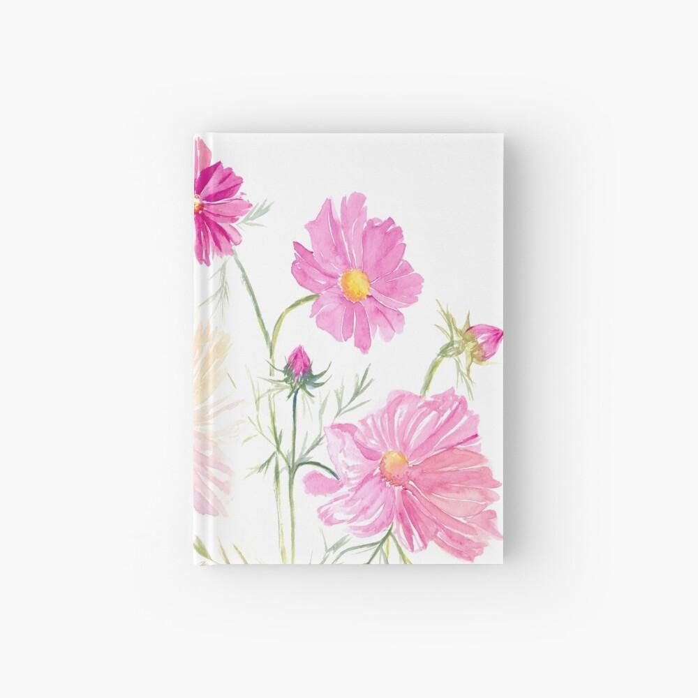 Carnet cartonné «Fleurs de Cosmos à l'aquarelle»