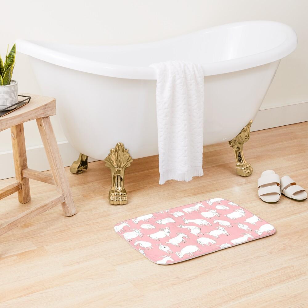 Goats playing - Pink Bath Mat