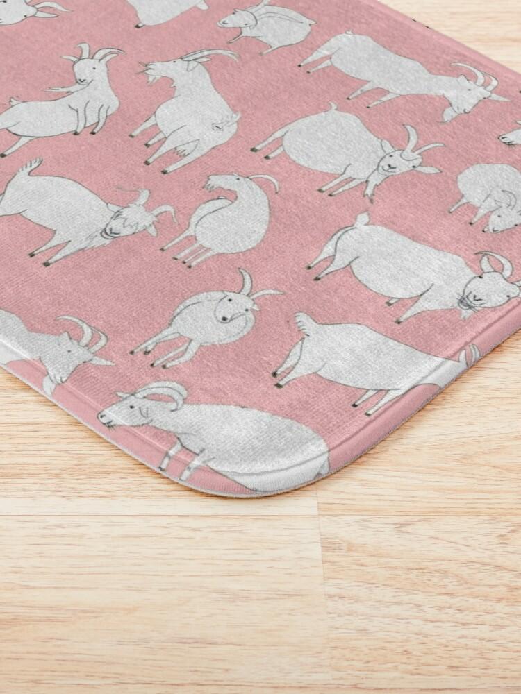 Alternate view of Goats playing - Pink Bath Mat