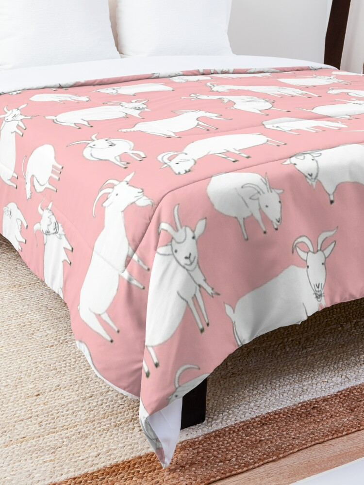 Alternate view of Goats Playing – Pink Comforter