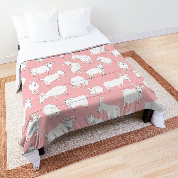 Goats Playing – Pink Comforter