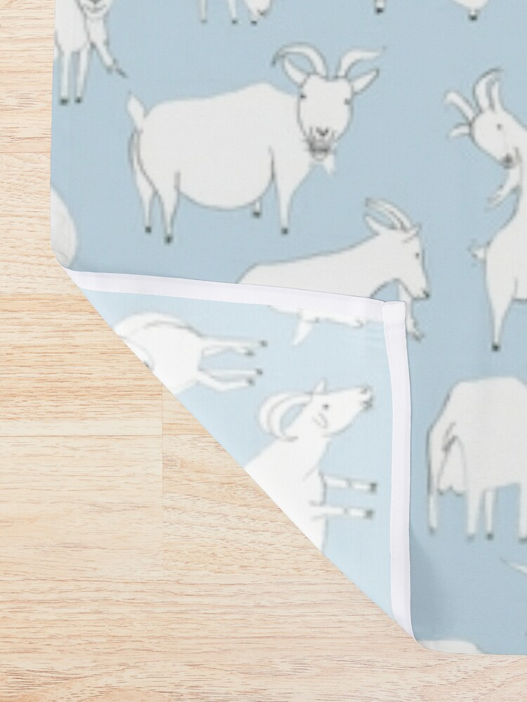 Alternate view of Goats playing - Blue Shower Curtain