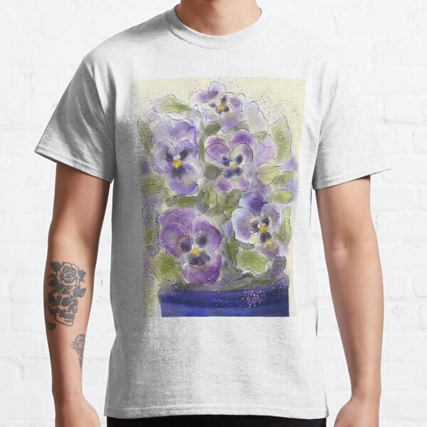 Whimsical Watercolour Pansies Classic T-Shirt