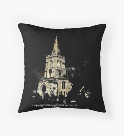 Weekley Church in Black and White, St Mary the Virgin  Throw Pillow