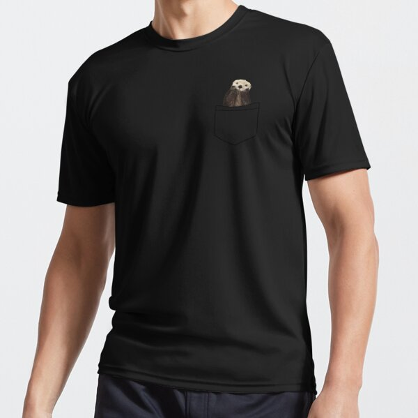 Got an Otter in My Pocket, Pale Pastel Yellow Color Solid Background. Minimalist. Coastal. Adorable Active T-Shirt