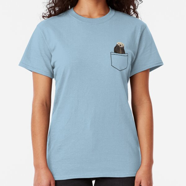 Got an Otter in My Pocket, Pale Pastel Yellow Color Solid Background. Minimalist. Coastal. Adorable. Classic T-Shirt