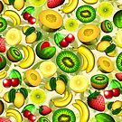 Summer Fruits Juicy Pattern  by BluedarkArt