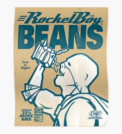 Vintage Rocketboy Beans Ad - Captain RibMan Poster