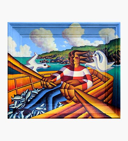 Fisherman in boat with gulls  3   Painted on to frame Photographic Print