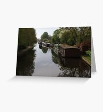 Houseboats on the Grand Union Canal at Cowley West London Greeting Card