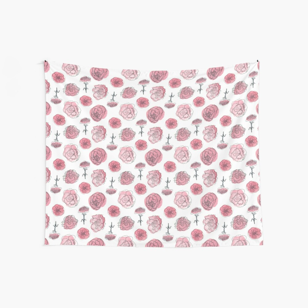 Pink Carnation Pattern Wall Tapestry