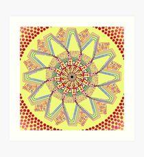 Sunflower Star  Mandala Art Print