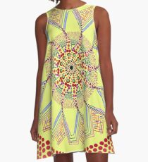 Sunflower Star  Mandala A-Line Dress