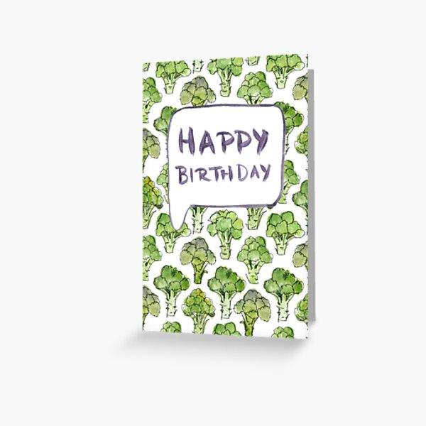 Broccoli Happy Birthday Greeting Card