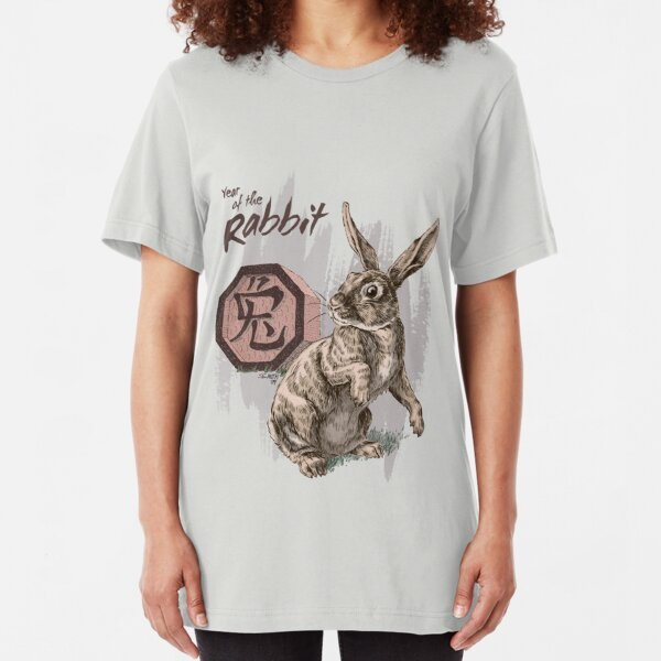 Year of the Rabbit by Stephanie Smith Slim Fit T-Shirt