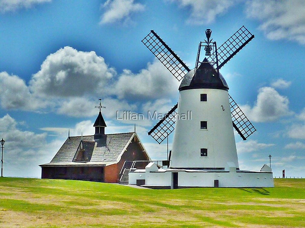 Lytham Windmill and Lifeboat Station . by Lilian Marshall