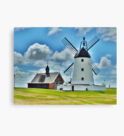 Lytham Windmill and Lifeboat Station . Canvas Print