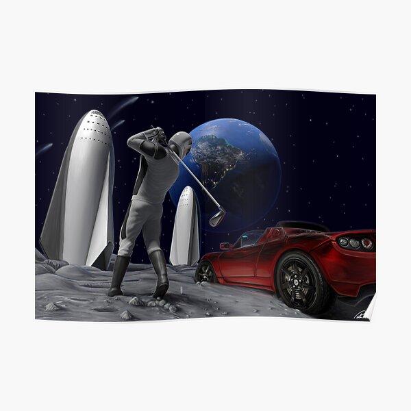 Golfing on the Moon - Starman Poster