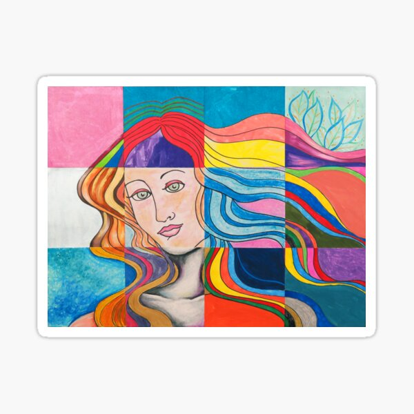 Modern Venus Botticelli Inspired Pop Art Mixed Media Sticker