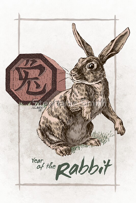 chinese zodiac year of the rabbit by stephanie smith redbubble. Black Bedroom Furniture Sets. Home Design Ideas