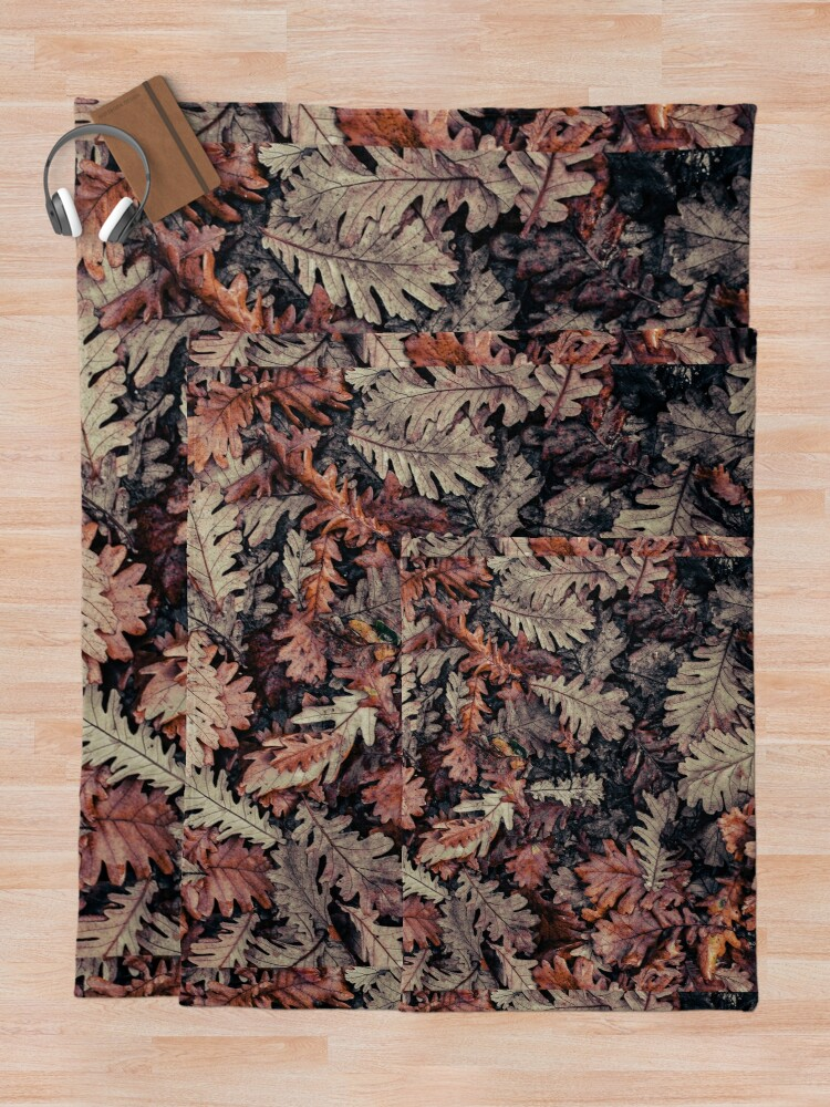 Alternate view of Dried Autumn Leaves - HD Nature Throw Blanket