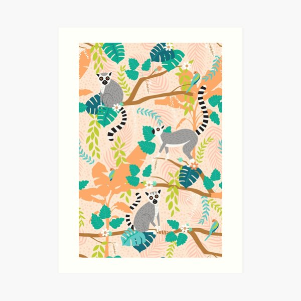 Lemurs in a Peach Jungle Art Print