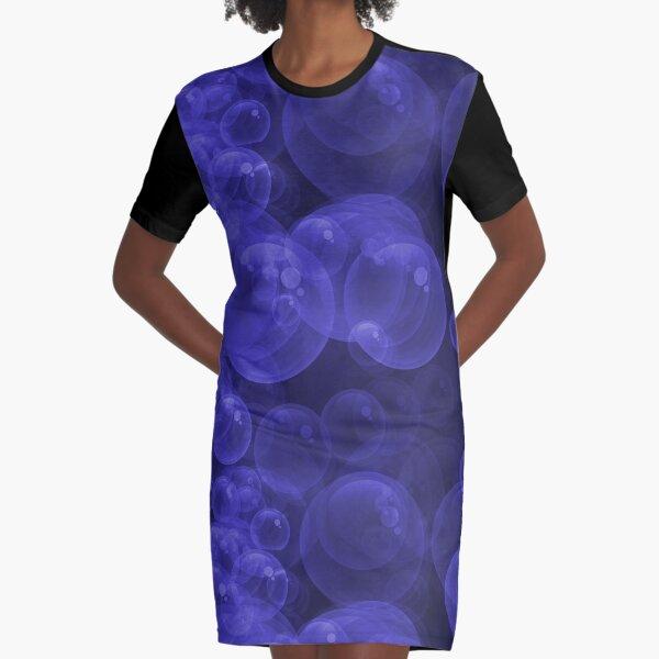 Large Royal Blue Purple Purple Water Air Bubbles Graphic T-Shirt Dress