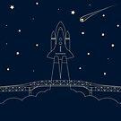 asteroidday Rocket Launch behind the Auckland Harbour Bridge by designbycheyney