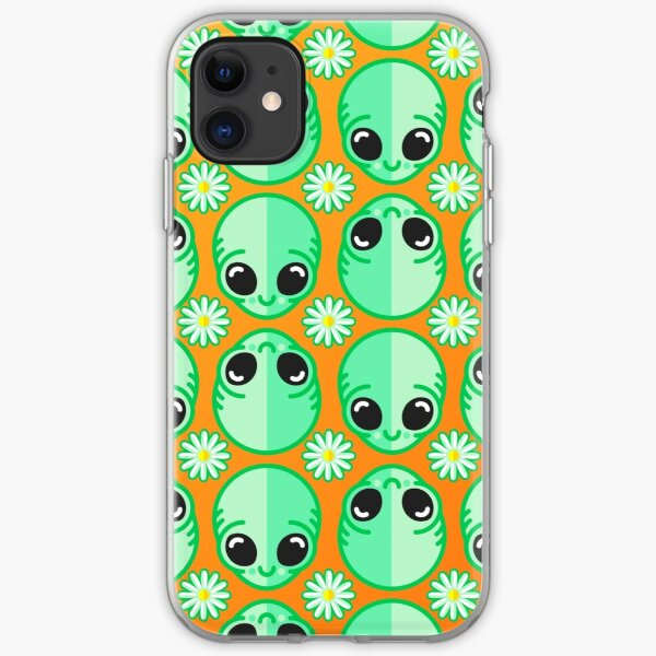 Happy Alien and Daisy Grunge Pattern iPhone Soft Case