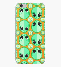 Happy Alien and Daisy Grunge Pattern iPhone Case