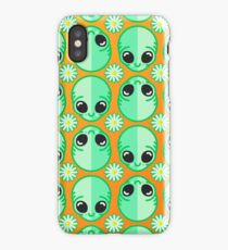 Happy Alien and Daisy Grunge Pattern iPhone Case/Skin