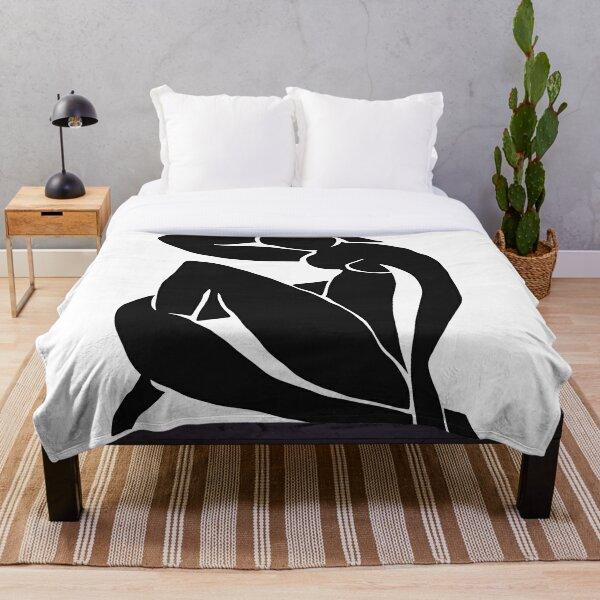 Matisse Cut Out Figure #2 Black Throw Blanket