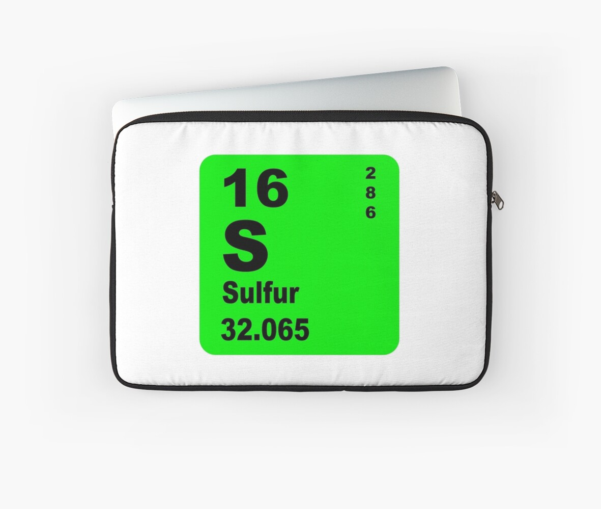 Sulfur periodic table of elements laptop sleeves by walterericsy sulfur periodic table of elements by walterericsy gamestrikefo Choice Image