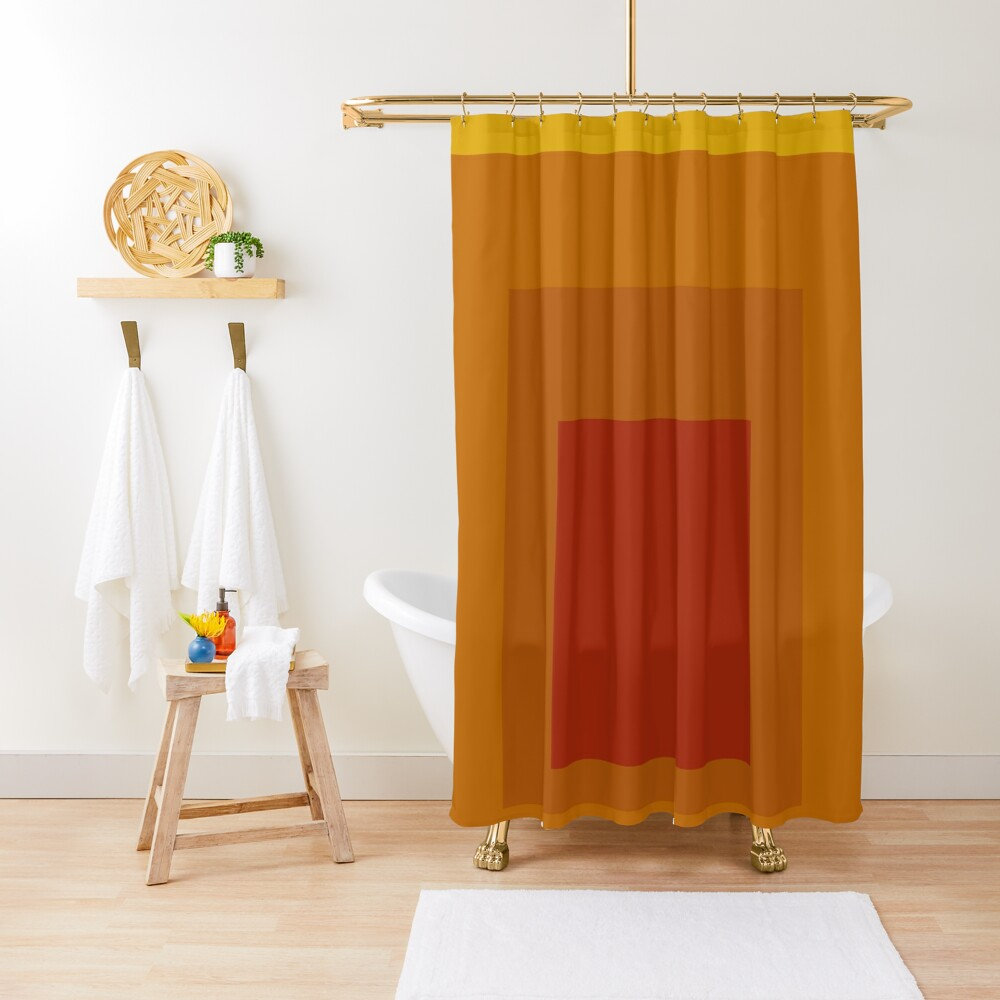 Block Colors - Yellow Orange Red Shower Curtain